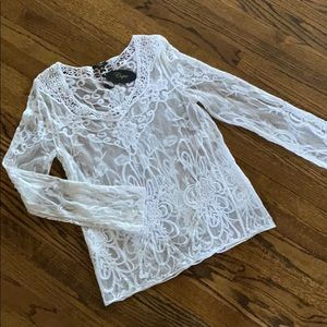 NWT. Pretty lace sheer top
